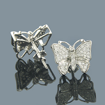 14K Gold Round Diamond Butterfly Earrings 0.50ct Main Image