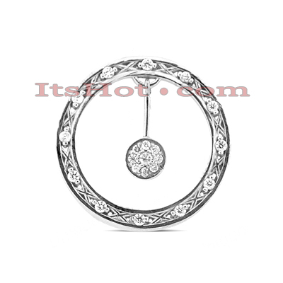 14K Gold Round Diamond Circle Pendant 0.39ct Main Image