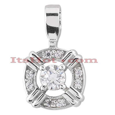 14K Gold Round Diamond Circular Pendant 0.50ct Main Image