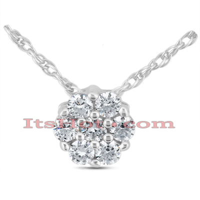 14K Gold Round Diamond Cluster Pendant 0.14ct Main Image