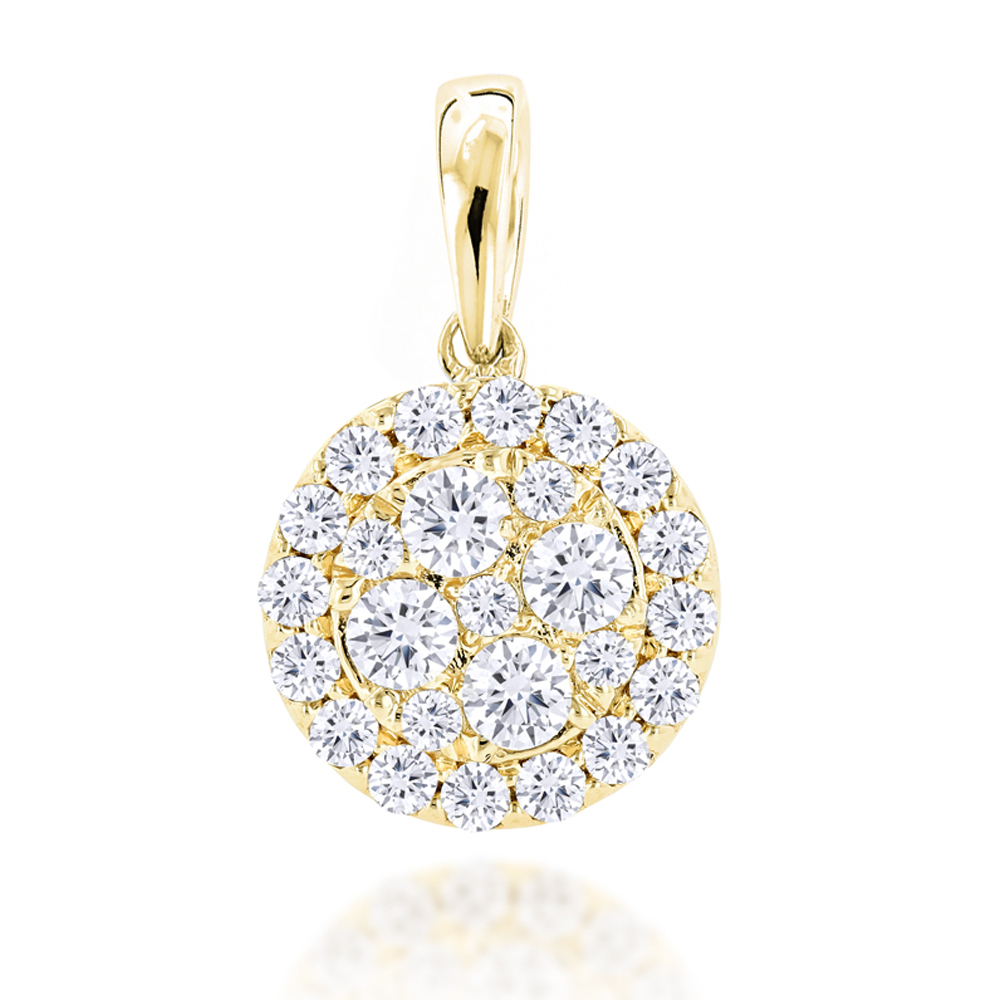 14K Gold Round Diamond Cluster Pendant for Women 0.88ct