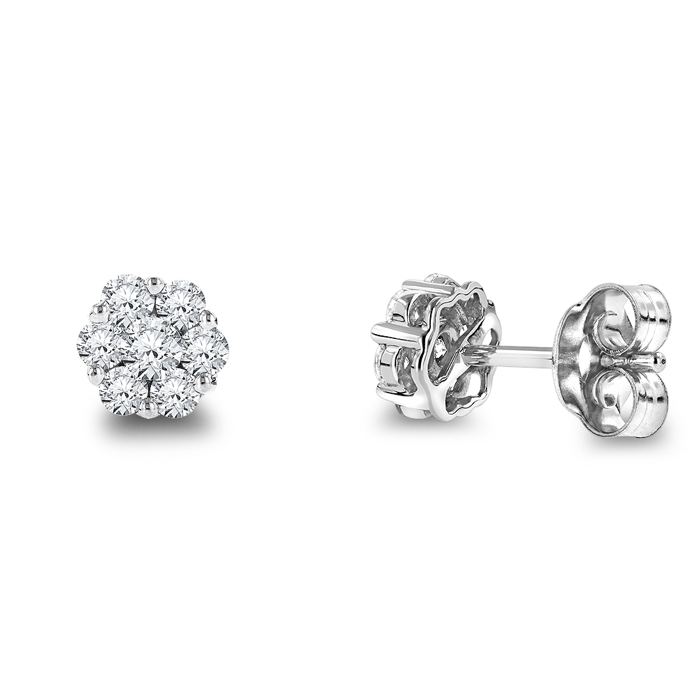 14K Gold Round Diamond Cluster Stud Earrings 0.5 White Image