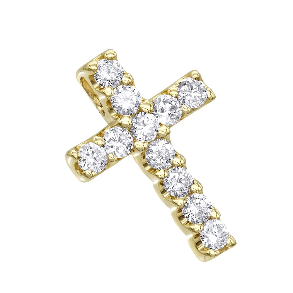 14K Gold Round Diamond cross necklace 0.33ct Yellow Image
