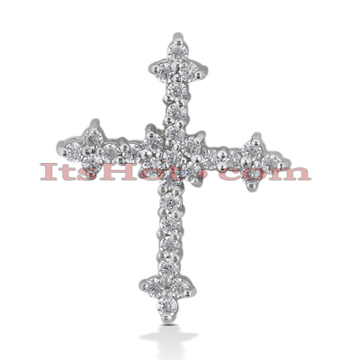 14K Gold Round Diamond cross necklace 0.45ct Main Image