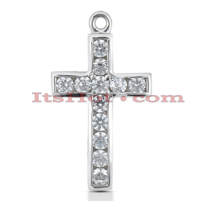14K Gold Round Diamond cross necklace 1.20ct Main Image