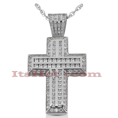 14K Gold Round Diamond cross necklace 1.37ct