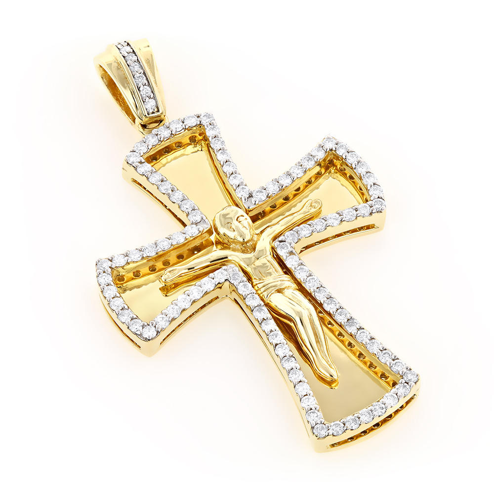 14K Gold Round Diamond cross necklace 1.2ct Yellow Image