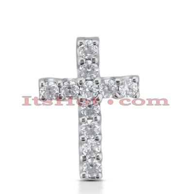 14K Gold Round Diamond cross necklace 1.65ct Main Image
