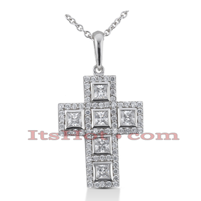 14K Gold Round Diamond cross necklace 1.73ct Main Image