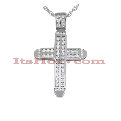 14K Gold Round Diamond cross necklace 2.14ct Main Image