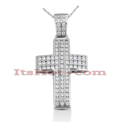 14K Gold Round Diamond cross necklace 3.28ct Main Image