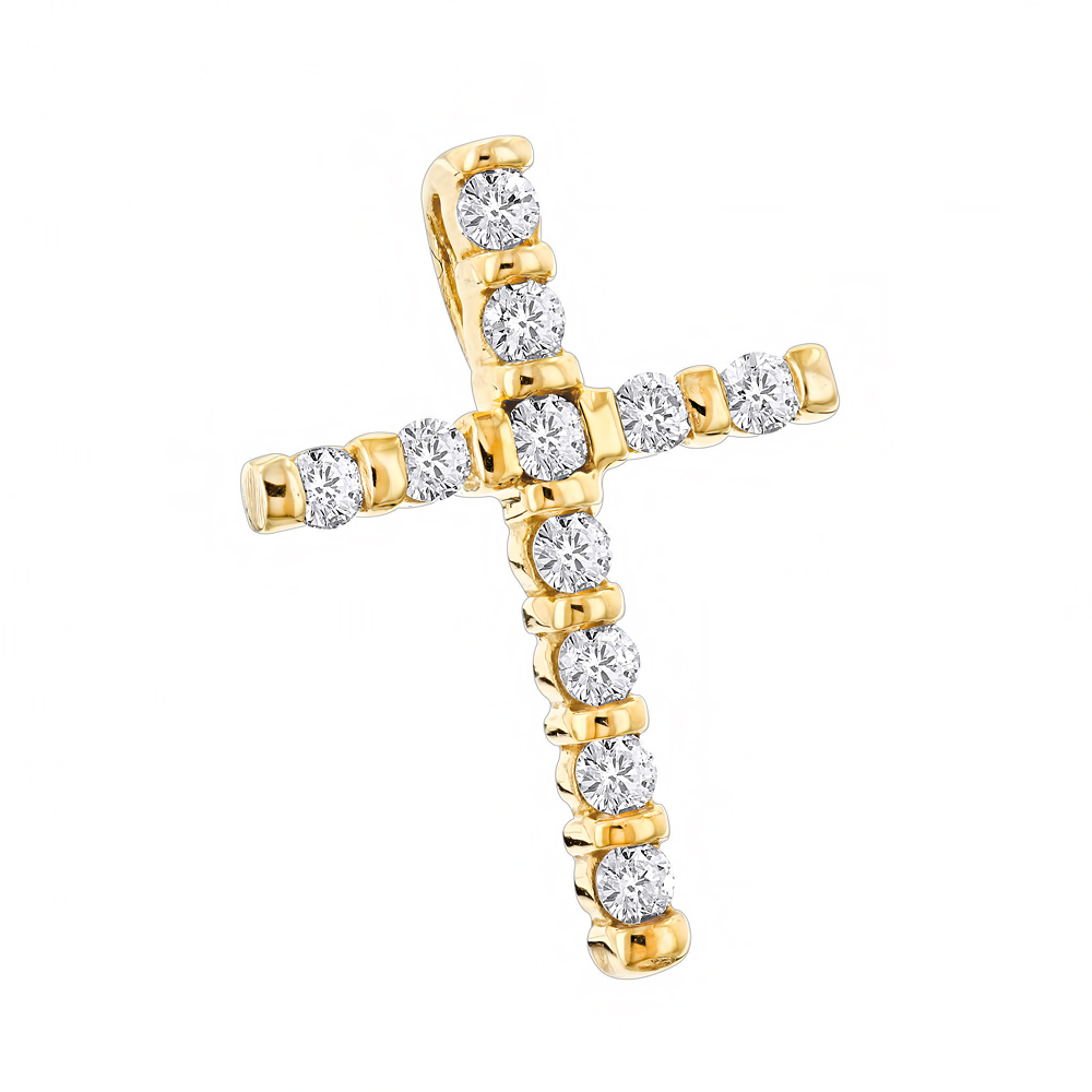 14K Gold Round Diamond Cross Pendant 0.33ct Yellow Image