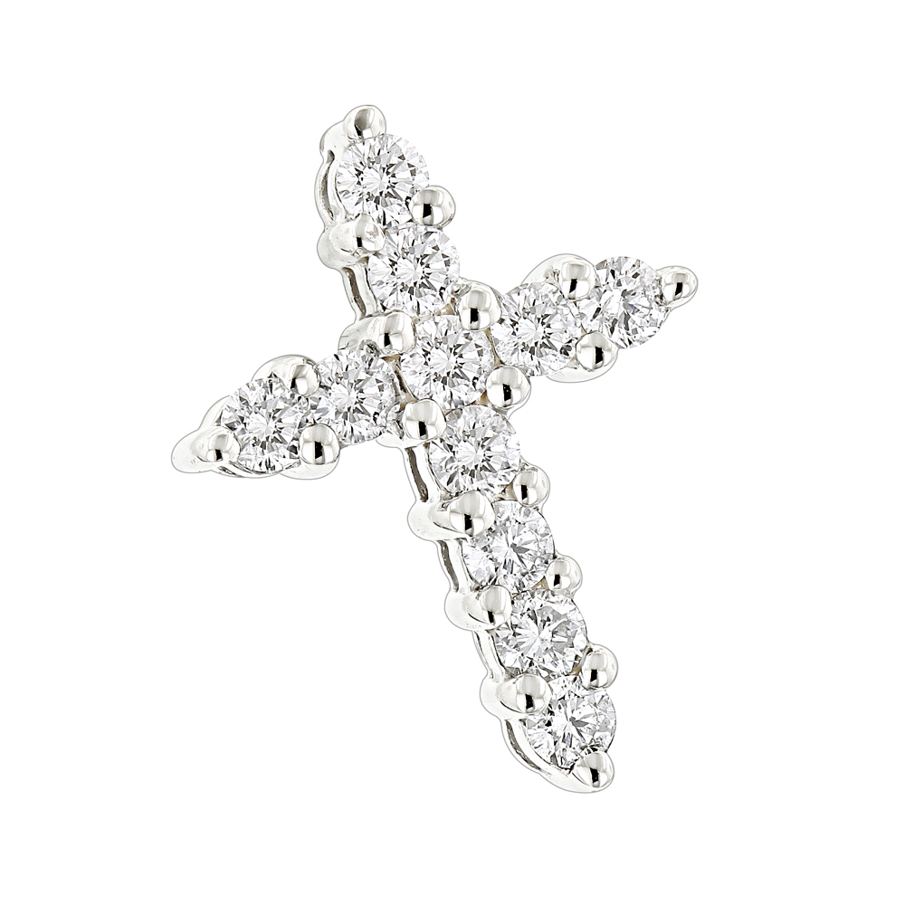 14K Gold Round Diamond Cross Pendant 0.55ct White Image