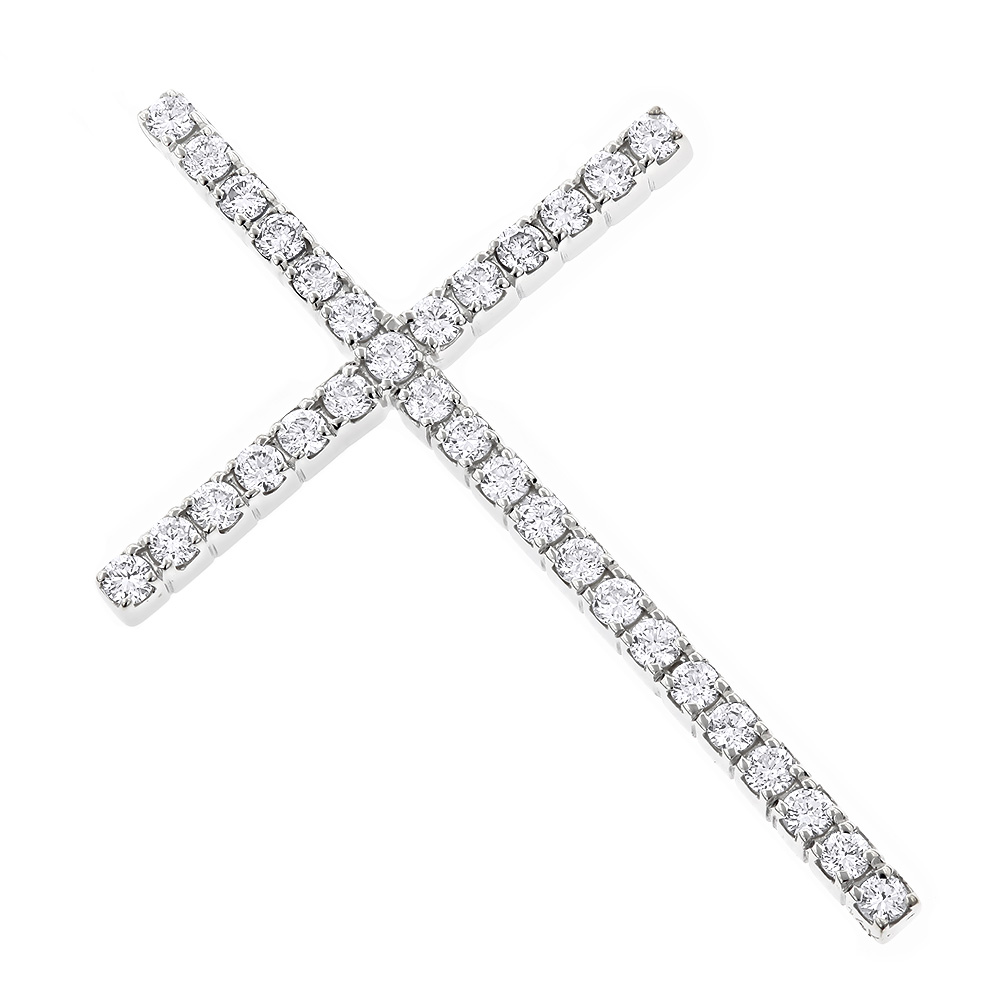 14K Gold Round Diamond Cross Pendant 0.72ct White Image
