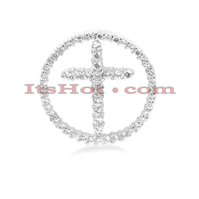 14K Gold Round Diamond Cross Pendant 1.30ct Main Image