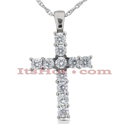 14K Gold Round Diamond Cross Pendant 1.32ct Main Image