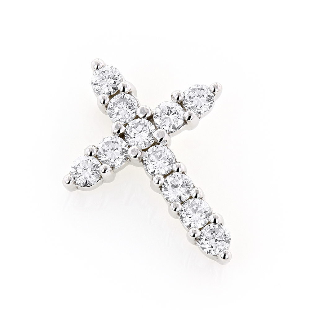 14K Gold Round Diamond Cross Pendant 1.32ct White Image