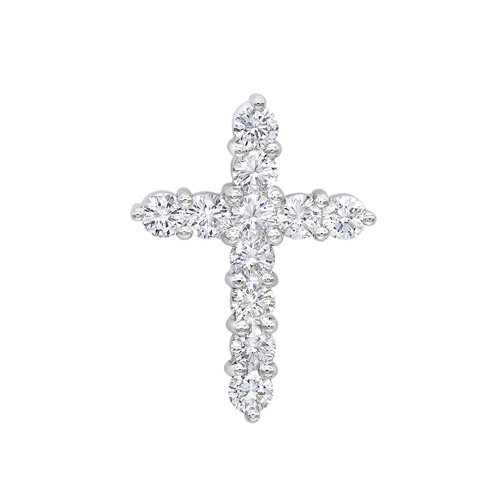14K Gold Round Diamond Cross Pendant 1.65ct White Image