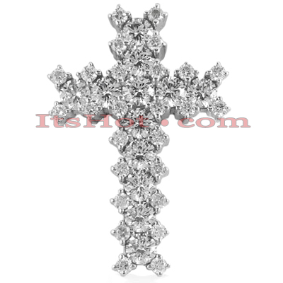 14K Gold Round Diamond Cross Pendant 1.83ct Main Image
