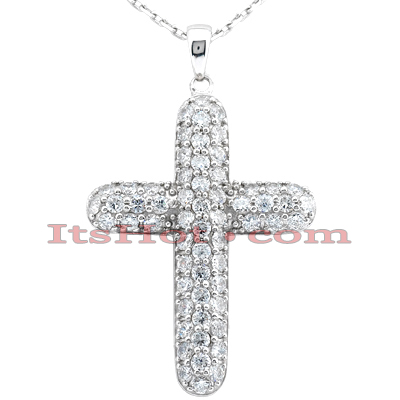 14K Gold Round Diamond Cross Pendant 3ct Main Image