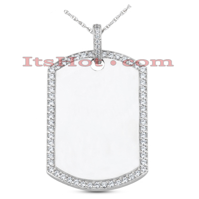 14K Gold Round Diamond Dog Tag Pendant 1.55ct Main Image