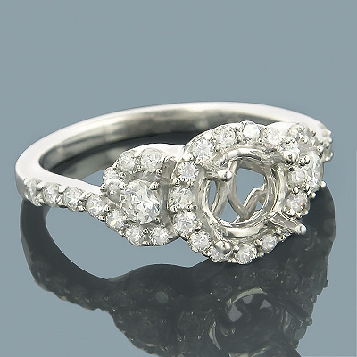 Halo 14K Gold Round Diamond Engagement Ring Setting 0.75ct Main Image