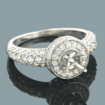 Halo 14K Gold Round Diamond Engagement Ring Setting 1.00ct Main Image