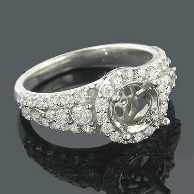 Halo 14K Gold Round Diamond Engagement Ring Setting 1.08ct Main Image