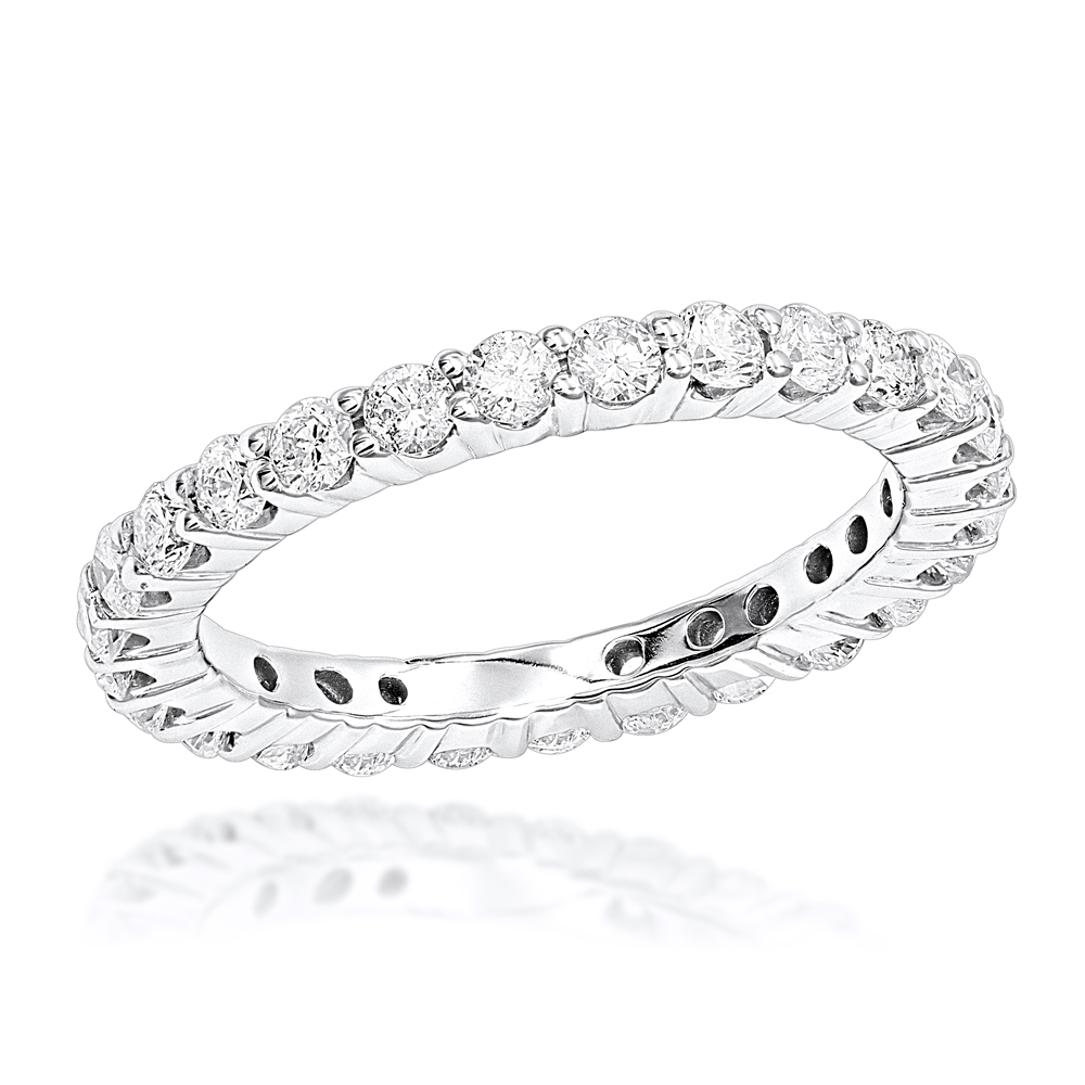 Thin 14K Gold Round Diamond Eternity Band 1.35ct White Image