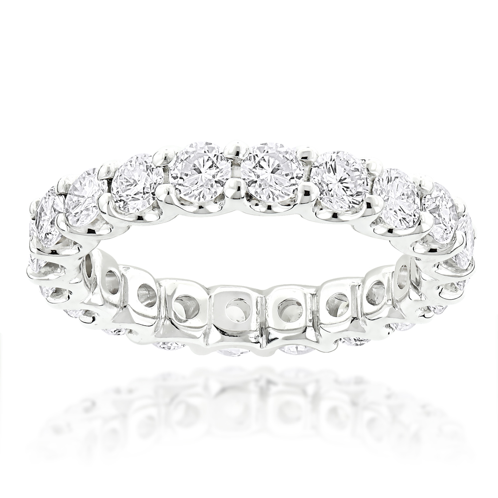 Thin 14K Gold Round Diamond Eternity Band 2.10ct White Image