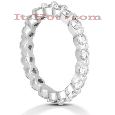 Thin 14K Gold Round Diamond Eternity Ring 1.33ct