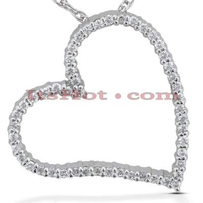 14k Gold Round Diamond Floating Heart Pendant 0.50ct