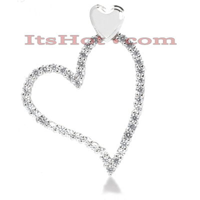 14k Gold Round Diamond Floating Heart Pendant 0.74ct