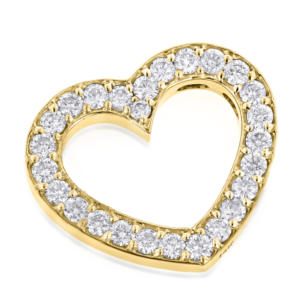14K Gold Round Diamond Floating Heart Pendant 1.25ct Yellow Image