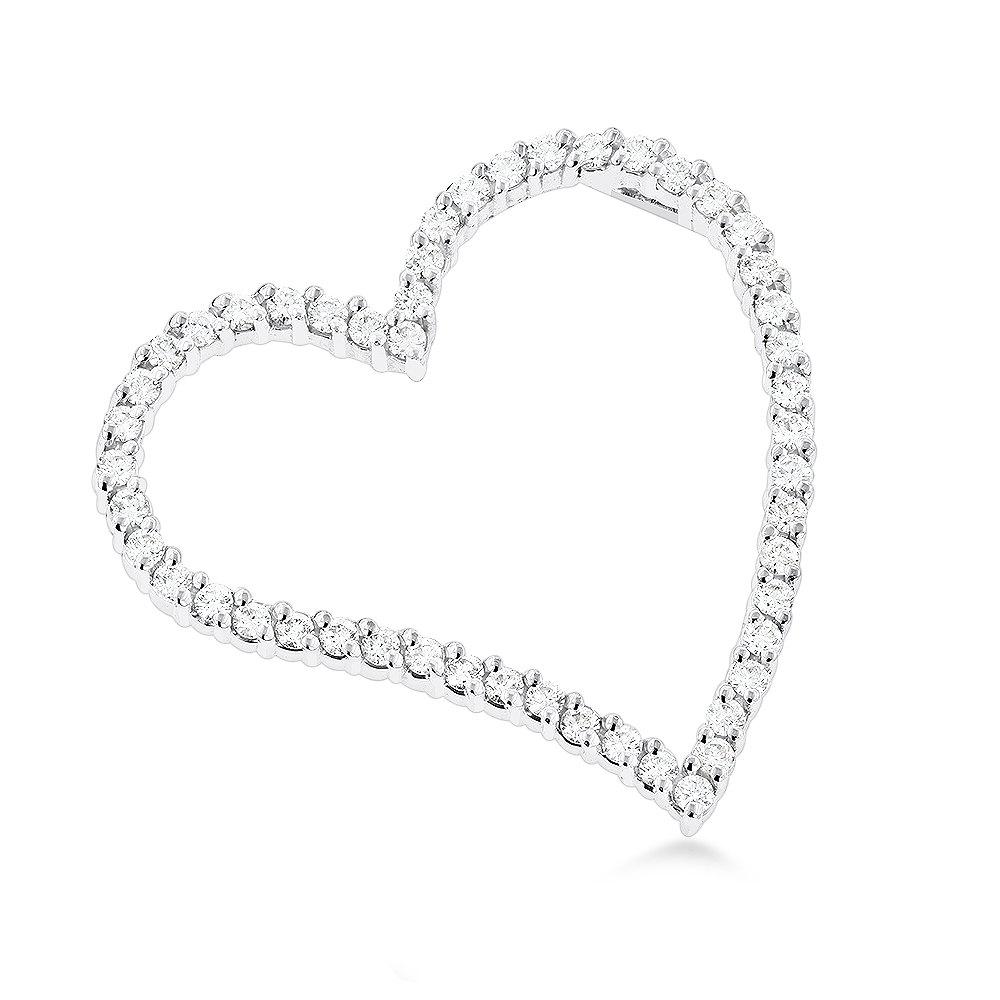 14k Gold 1 Carat Round Diamond Floating Heart Pendant by Luxurman White Image