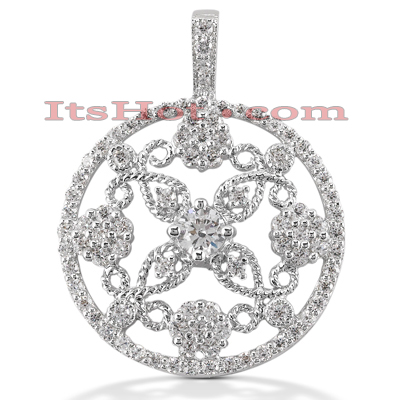14K Gold Round Diamond Floral Pendant 1.17ct Main Image