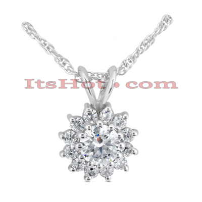 14K Gold Round Diamond Flower Pendant 0.48ct Main Image