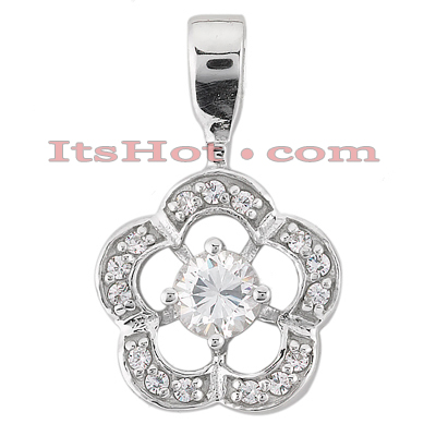 14K Gold Round Diamond Flower Pendant 0.50ct Main Image