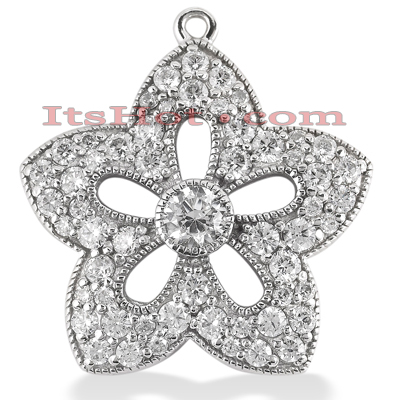 14K Gold Round Diamond Flower Pendant 2.05ct Main Image
