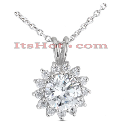 14K Gold Round Diamond Flower Pendant 2.39ct Main Image