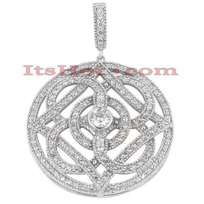 14K Gold Round Diamond Geometrical Pendant 0.96ct Main Image