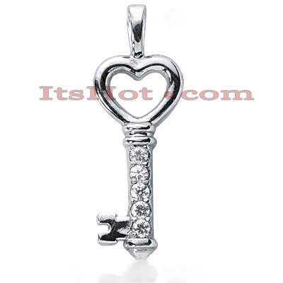 14K Gold Round Diamond Heart Key Pendant 0.25ct Main Image