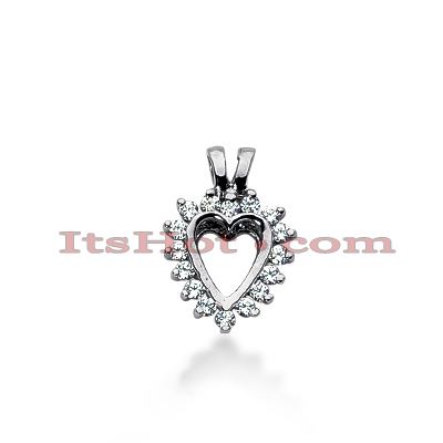 14k Gold Round Diamond Heart Necklace 0.24ct