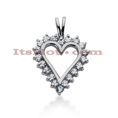 14k Gold Round Diamond Heart Necklace 0.70ct Main Image