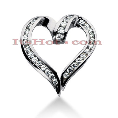 14k Gold Round Diamond Heart Necklace 1.20ct Main Image