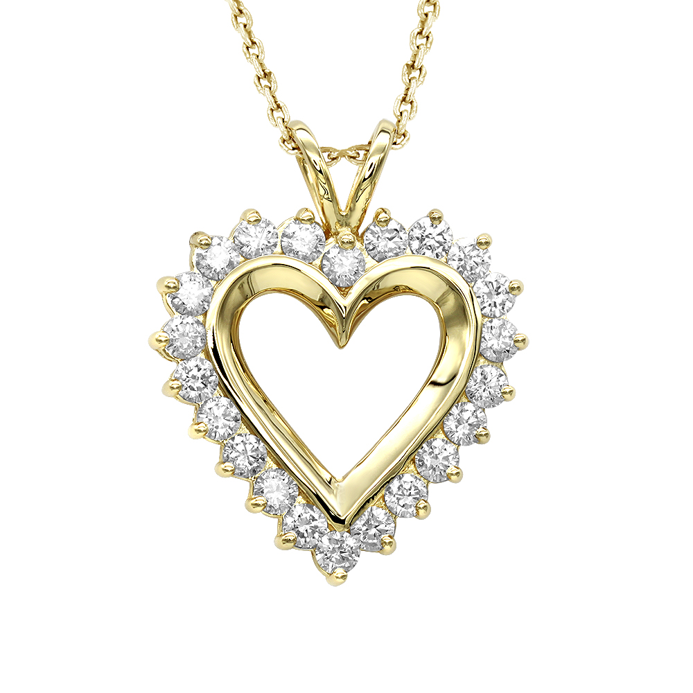 14k Gold Round Diamond Heart Necklace 1.76ct Yellow Image