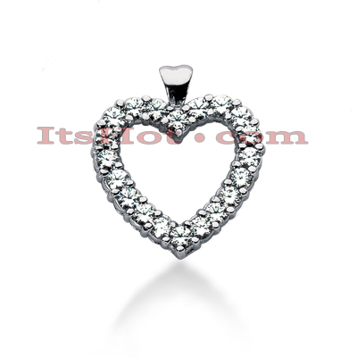 14k Gold Round Diamond Heart Necklace 2.40ct Main Image