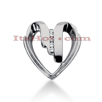 14k Gold Round Diamond Heart Pendant 0.10ct Main Image