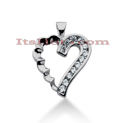 14k Gold Round Diamond Heart Pendant 0.36ct