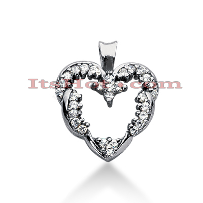 14k Gold Round Diamond Heart Pendant 0.43ct Main Image